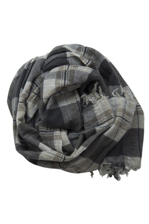 Handwashed Slow Cashmere Scarf Old Black Check by Private0204-TU