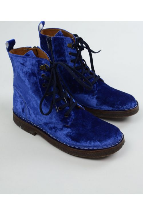 Leather Lace Boots Velvet Blue by Pepe Shoes
