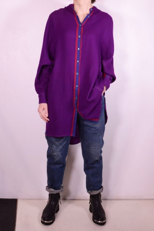 Long Wool Shirt Purple by Pero
