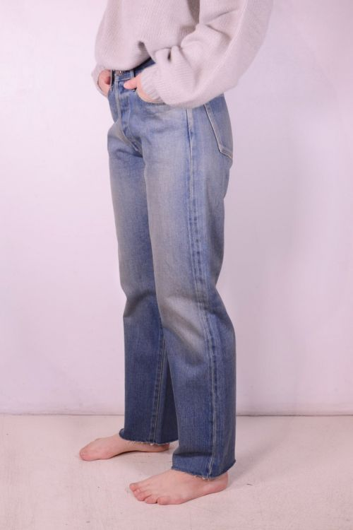 Straight Cut Light Distress Jeans by Chimala