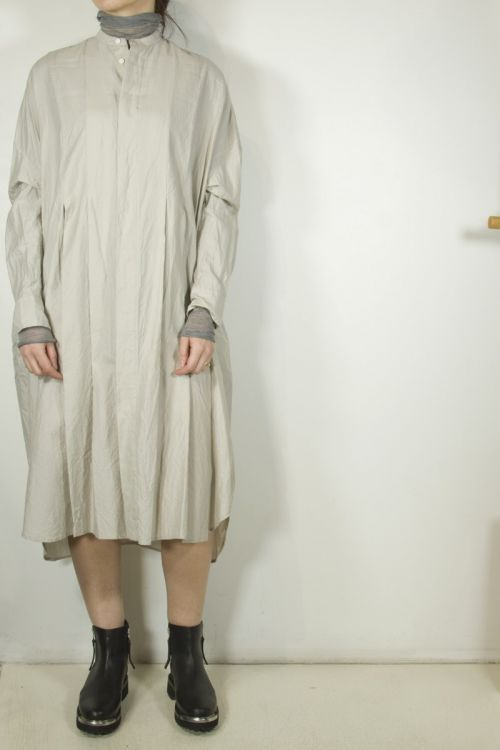 Wide Tuck Shirt Dress Snow Grey by Toujours