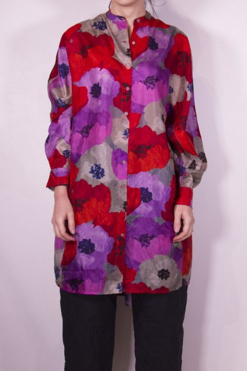 Long Silk Shirt Flower Print by Pero