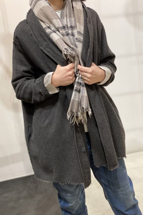Wool and Cashmere Oversized Cardigan Dust-S