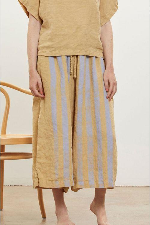Wide Linen Culottes Lavender Striped-XS