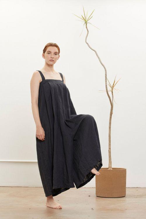 Wide Linen Jumper Faded Black
