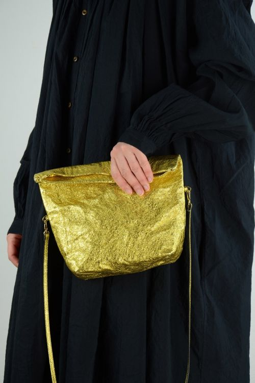 Metallic Leather Shoulder Bag Gold by Zilla