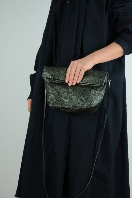 Metallic Leather Shoulder Bag Dark Green by Zilla