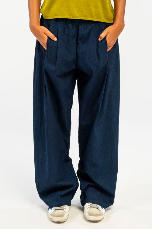 Wide Cotton Trousers Dark Blue by ApuntoB-XS