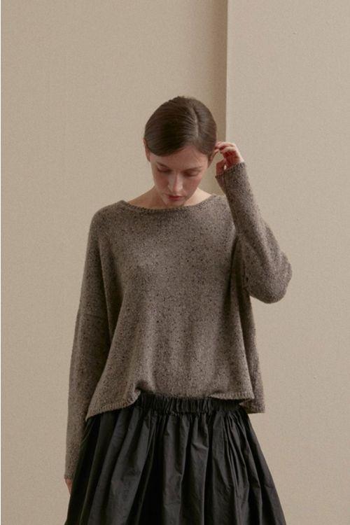 Cashmere Wide Sweater Chestnut-XS