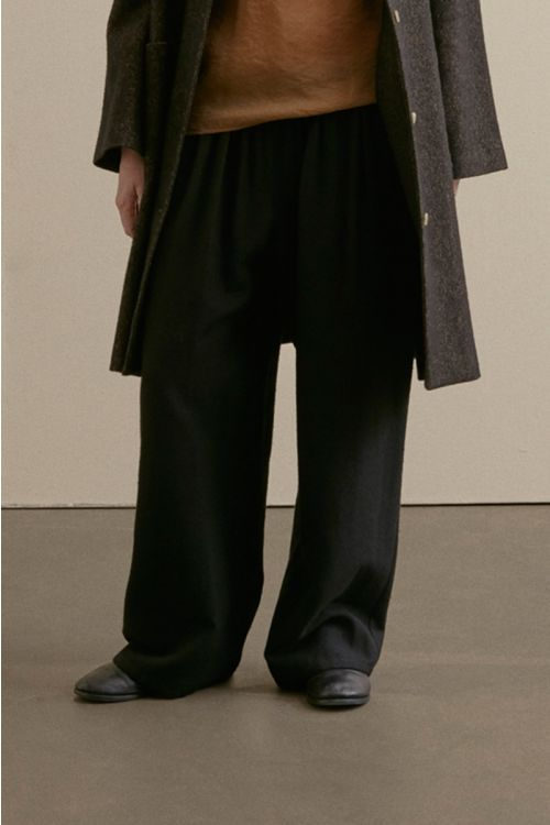 Wool and Silk Wide Trousers Black by ApuntoB-XS