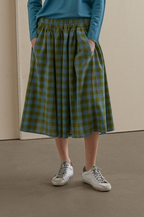 Wool Skirt Green Blue Check by ApuntoB-XS