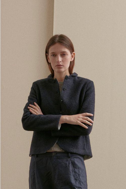 Cotton and Wool Jacket Dark Blue by Apuntob