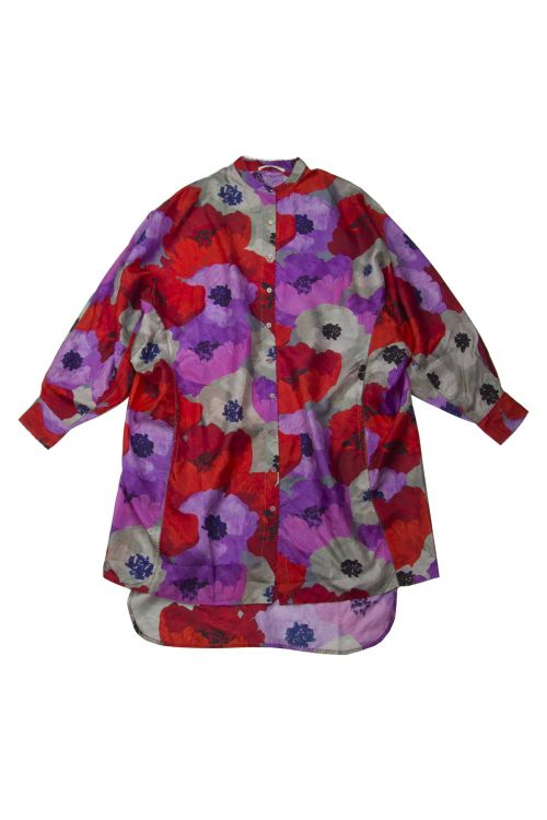 Long Silk Shirt Flower Print by Pero-XS