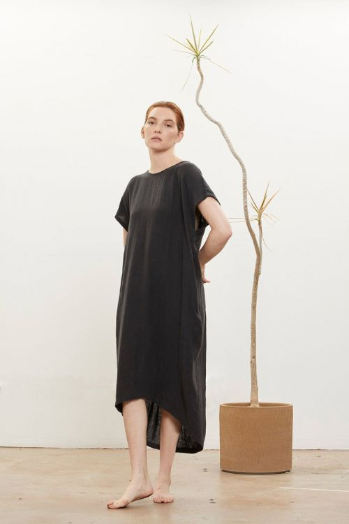 Pleated Cocoon Dress Faded Black by Black Crane