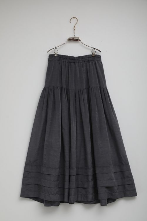 Cotton and Silk Skirt Sandrine Steel Grey by Ecole de Curiosites