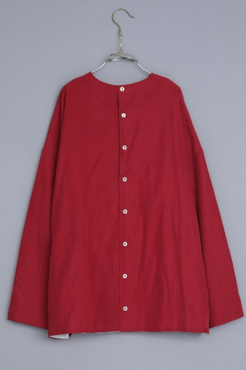 Silk and Cotton Shirt Silvan Red by Ecole de Curiosites-S