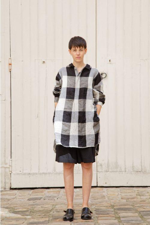 Linen Shirt Stanley Beige/Black Check by Ecole de Curiosites