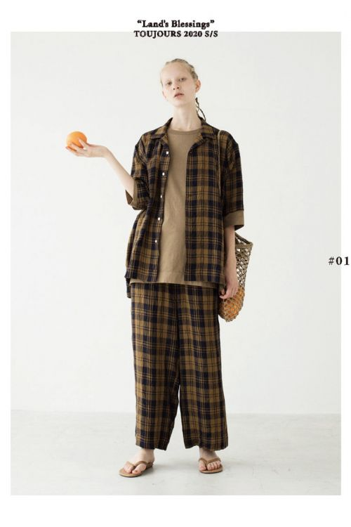 Checked Shirt  Brown Navy by Toujours-S