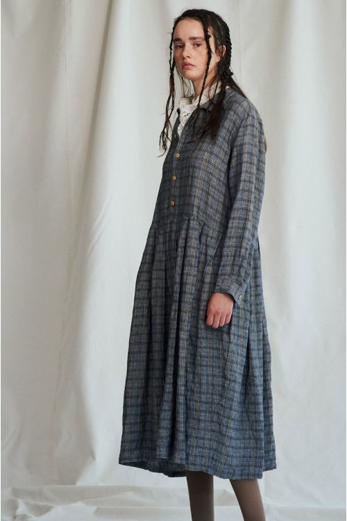 Shirt Dress Vintage Check Gray Ochre by Vlas Blomme