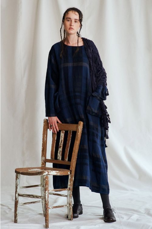 Wool and Linen Check Dress by Vlas Blomme