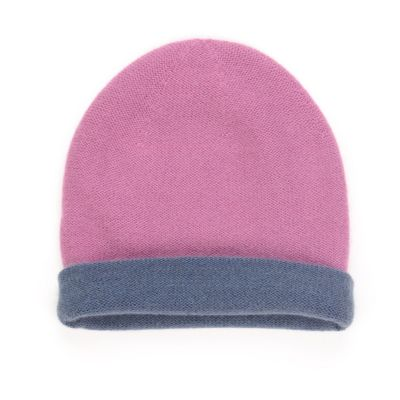 Reversible Cashmere Hat Simplex Lilac/Dark Blue by Warm-Me