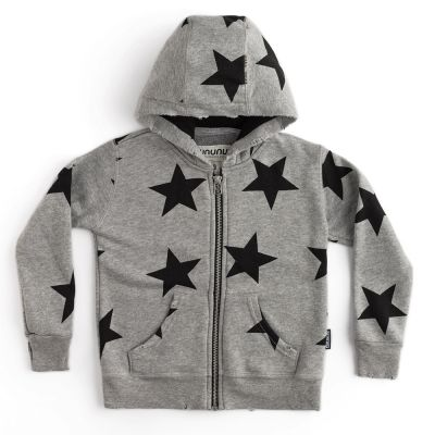 Star Zip Hoodie Heather Grey by Nununu-4Y