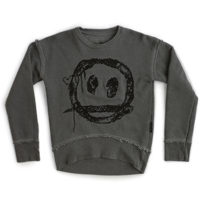 Sweatshirt Embroidered Smile Vintage Grey by Nununu-4Y