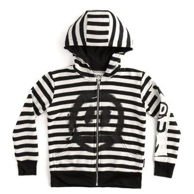 Patch Hoodie Black/White Striped by Nununu