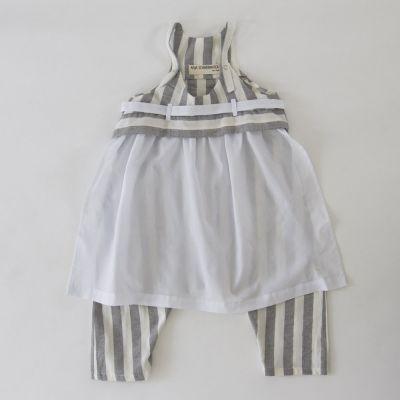 Baby Overall Oda Grey/White Stripes by Anja Schwerbrock