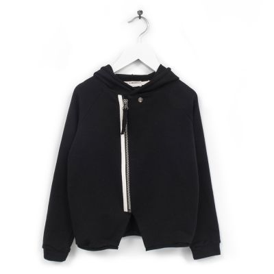 Baby Hooded Cardigan Lavoni Black by Anja Schwerbrock-6M