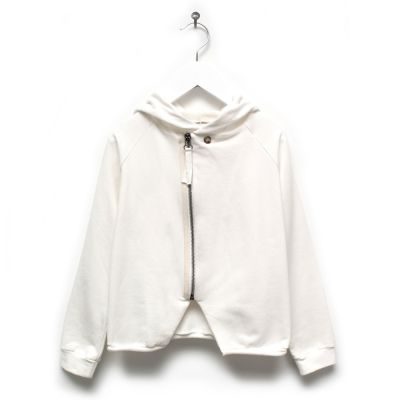 Baby Hooded Cardigan Lavoni Soft White by Anja Schwerbrock-6M