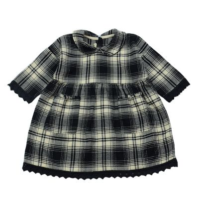 Soft Cotton Baby Dress Black Natural Check by Babe & Tess