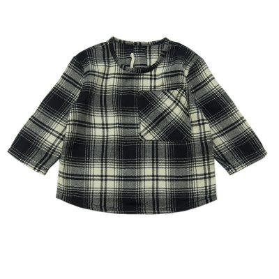 Soft Cotton Baby Shirt Black Natural Check by Babe & Tess
