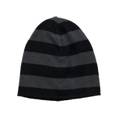 Soft Jersey Beanie Grey/Black Striped by Babe & Tess