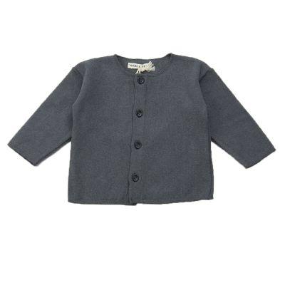 Soft Jersey Baby Cardigan Dark Grey by Babe & Tess