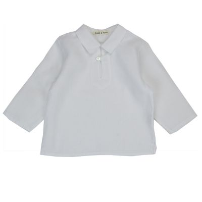 Baby Linen Caftan Shirt White