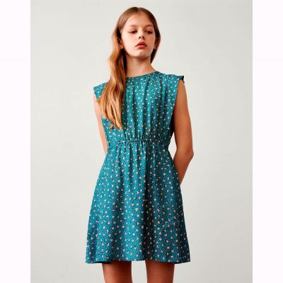 Dress Pupper Blue with Flower Print by Bellerose