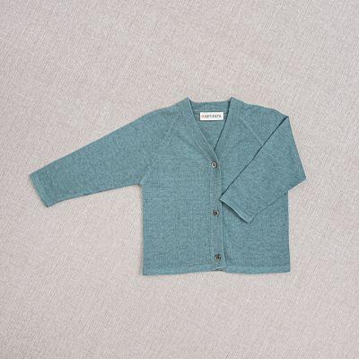 Cotton and Silk Baby Cardigan Teal by Ketiketa-3M