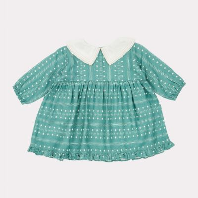 Baby Buzzard Dress Teal Dotty Print by Caramel-3M