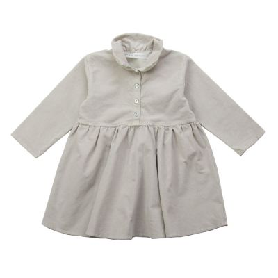 Ribbed Velvet Baby Collar Dress Nude by Album di Famiglia