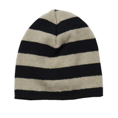 Soft Jersey Baby Beanie Natural/Black Striped-3M