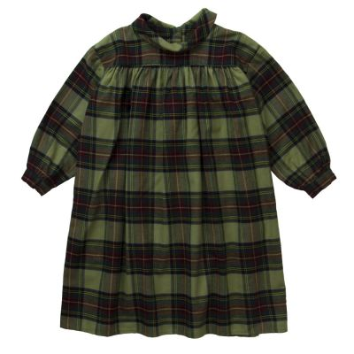 Long Flannel Dress Magma Army Check by Morley-4Y