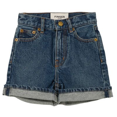 High Waisted Shorts Cherryl Medium Blue by Finger in the Nose-6/7Y