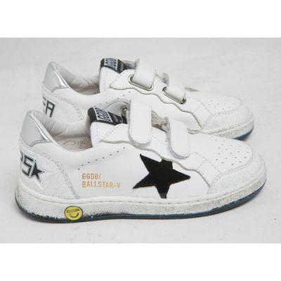 Sneaker Ballstar-V White Leather Black Star by Golden Goose Deluxe Brand-24EU