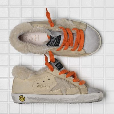 Fur Lined Sneakers Sand Nubuck Shearling Orange Laces