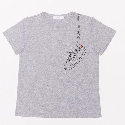T-Shirt Melange Grey Orange Sneaker by Golden Goose Deluxe Brand