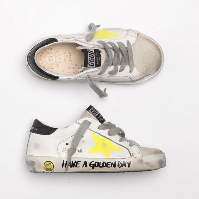 Sneakers Superstar White Leather Yellow Painted Star