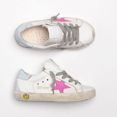 Sneakers Superstar White Leather Pink Glitter Star by Golden Goose Deluxe Brand