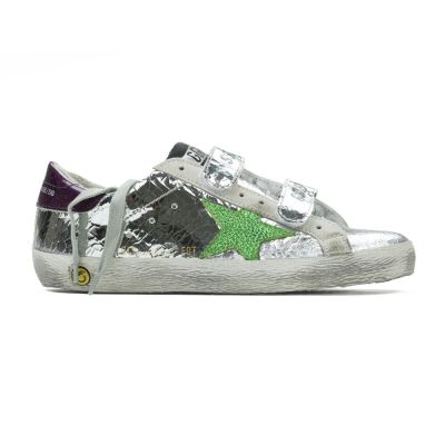 Sneakers Old School Silver Wall Green Star by Golden Goose Deluxe Brand