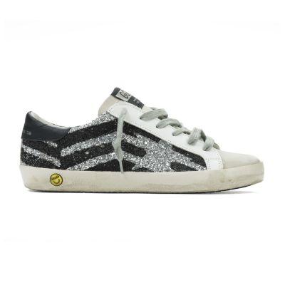 Sneakers Superstar Silver Glitter Black Flag by Golden Goose Deluxe Brand
